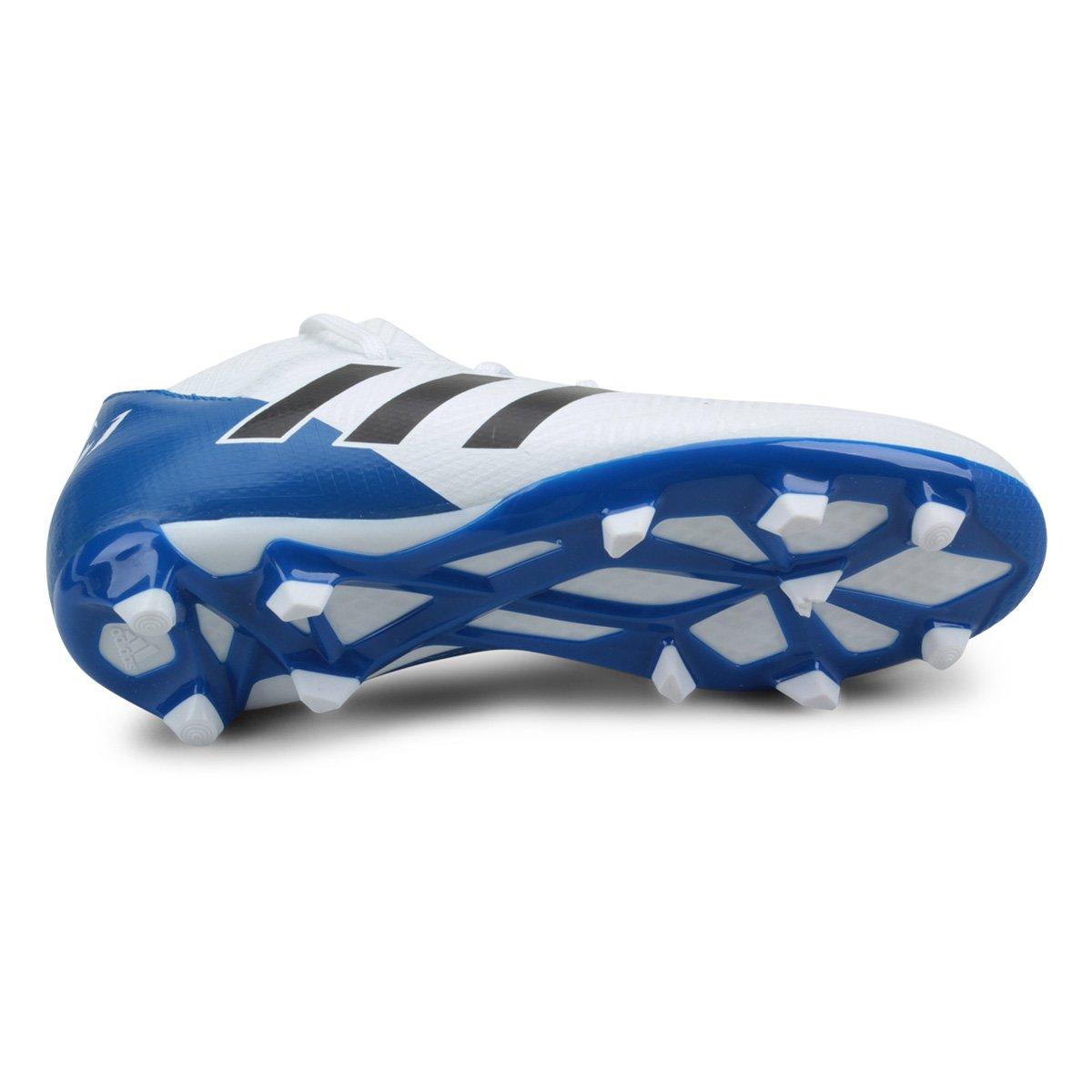 Chuteira Campo Infantil Adidas Nemeziz Messi 18 3 FG - Branco e ... 397c6c41f7624