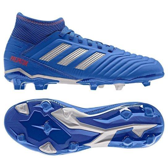 Chuteira Campo Infantil Adidas Predator 19 3 FG - Azul+Prata