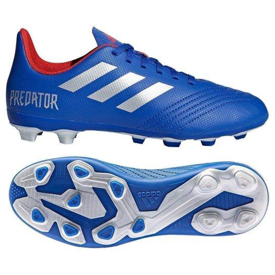 Chuteira Campo Infantil Adidas Predator 19 4 FG - Azul+Prata