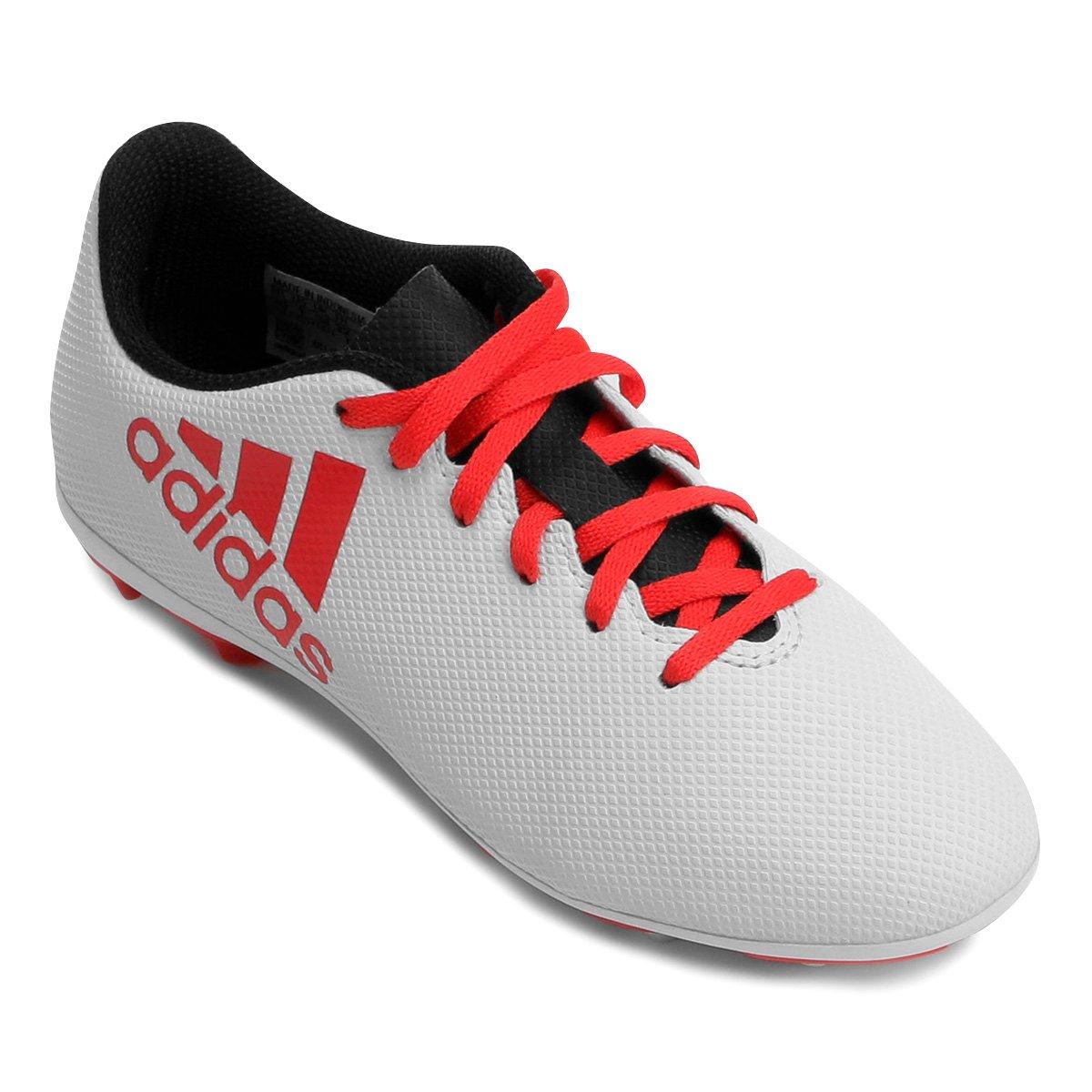 d97d4fed86 Chuteira Campo Infantil Adidas X 17 4 FXG - Branco e Vermelho ...