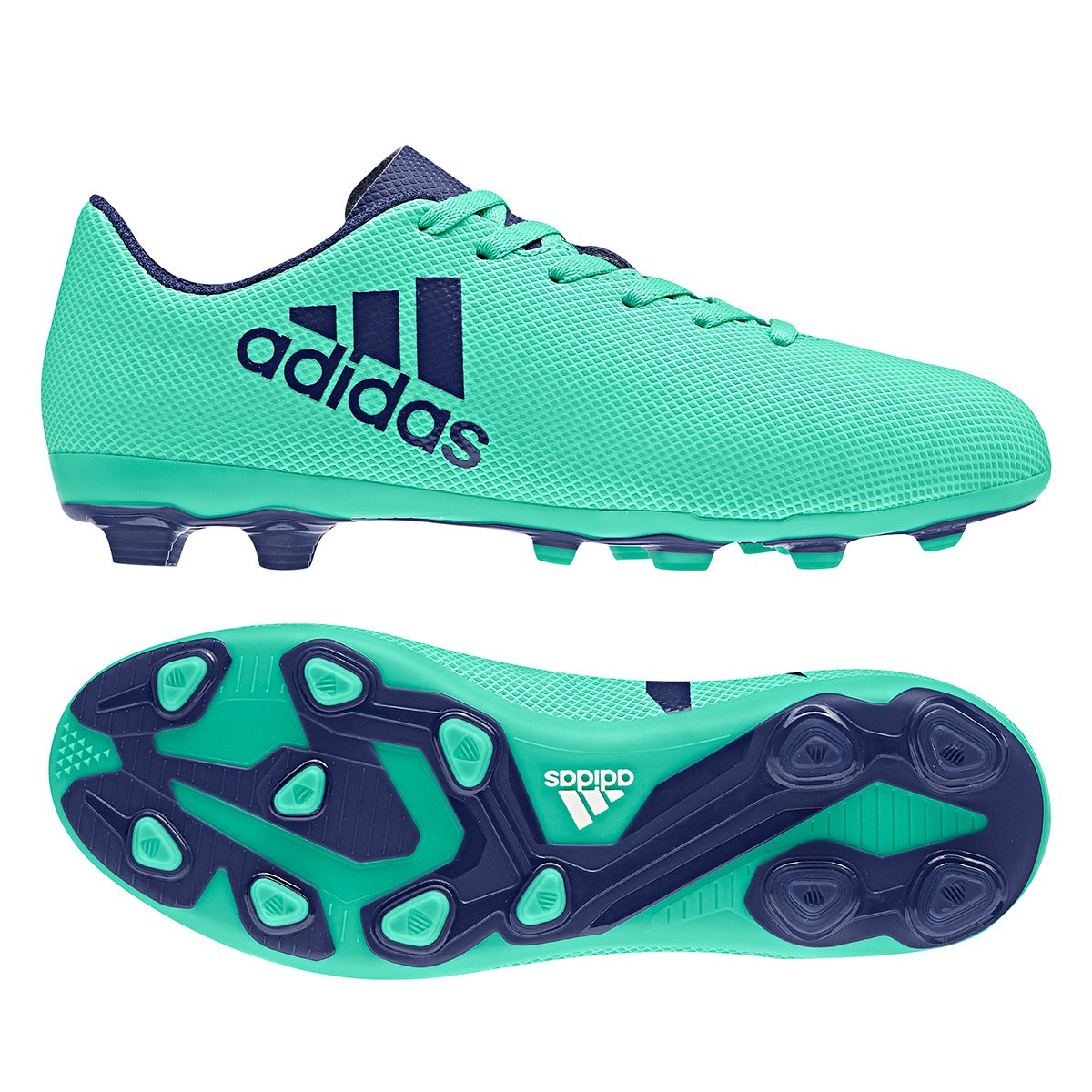 new style 1c989 efbe7 Chuteira Campo Infantil Adidas X 17 4 FXG - Verde e Azul