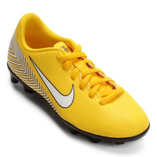 Chuteira Campo Infantil Nike Mercurial Vapor 12 Club GS Neymar FG - Amarelo+Preto