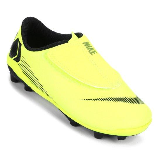 Chuteira Campo Infantil Nike Mercurial Vapor 12 Club PS FG - Amarelo+Preto