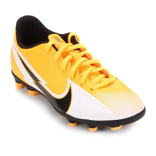 Chuteira Campo Infantil Nike Mercurial Vapor 13 Club FG - Laranja+Preto