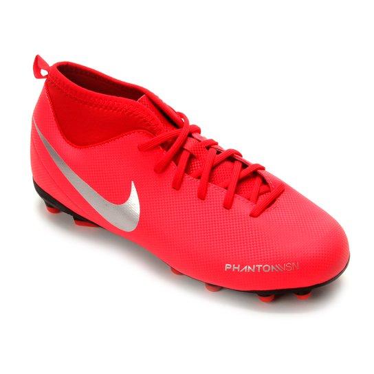 Chuteira Campo Infantil Nike Phantom Vision Club DF FG - Vermelho+Prata