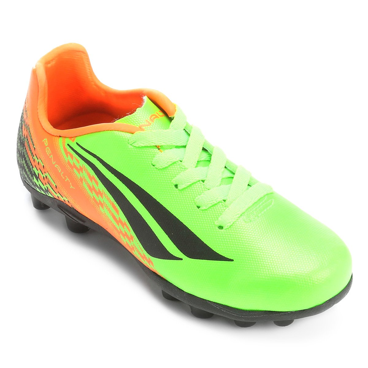 9970ccf932 Chuteira Campo Infantil Penalty K Soccer Storm 7 - Verde Claro e Laranja