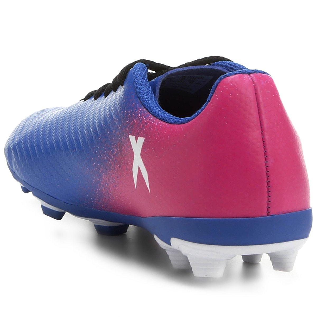 Chuteira Campo Juvenil Adidas X 16 4 FXG - Azul e Pink - Compre ... 0c10715c22130