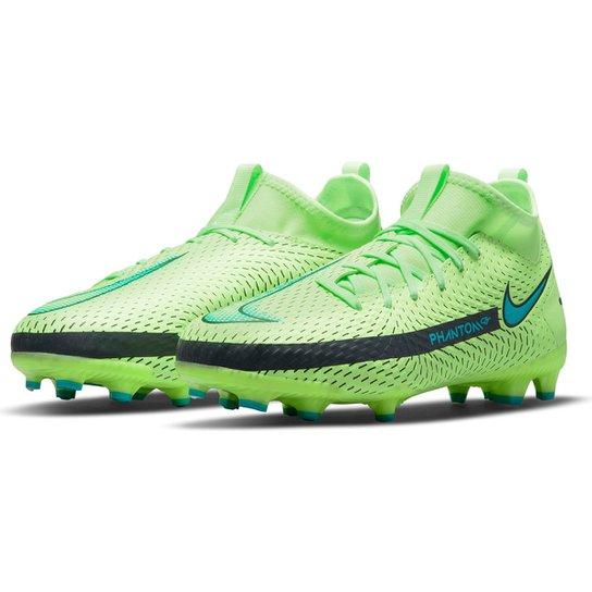 Chuteira Campo Juvenil Nike Phantom Academy DF - Verde água