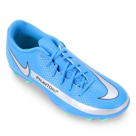 Chuteira Campo Juvenil Nike Phantom Club - Azul+Verde