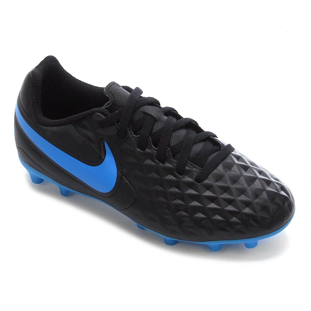Chuteira Campo Juvenil Nike Tiempo Legend 8 Club FG/MG - Preto e Azul