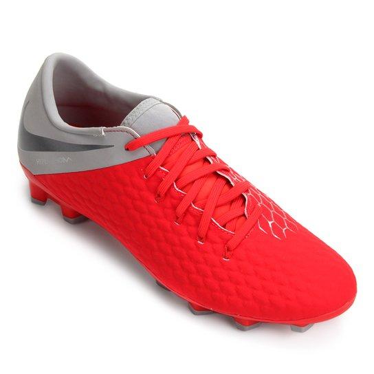 Chuteira Campo Nike Hypervenom Phantom 3 Academy FG - Vermelho+Cinza
