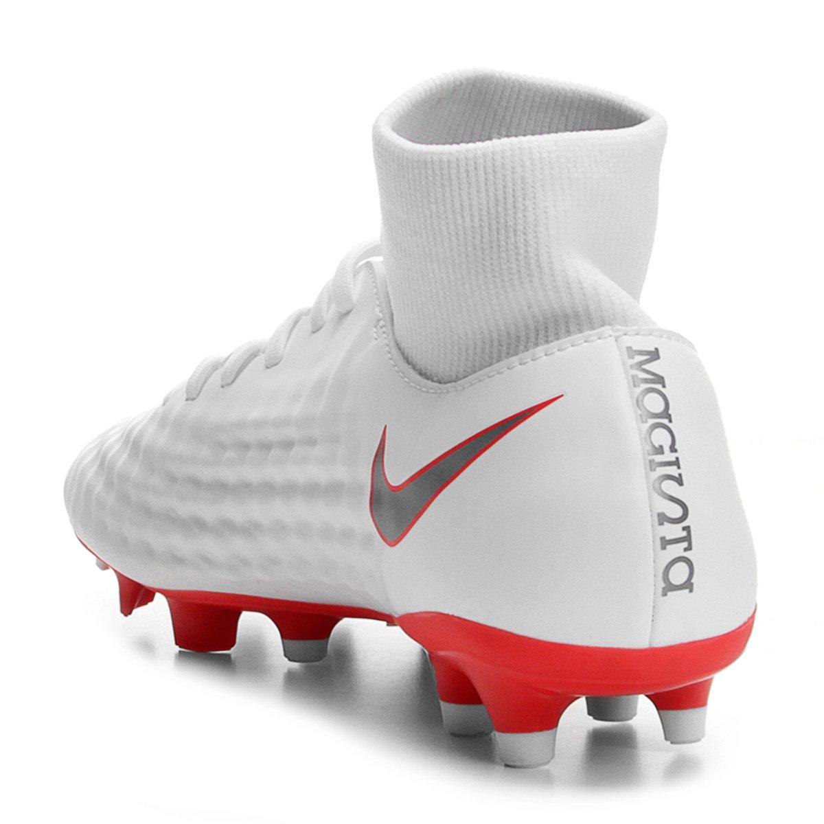 Chuteira Campo Nike Magista Obra 2 Academy DF FG - Branco e Cinza ... d894aa07aab14
