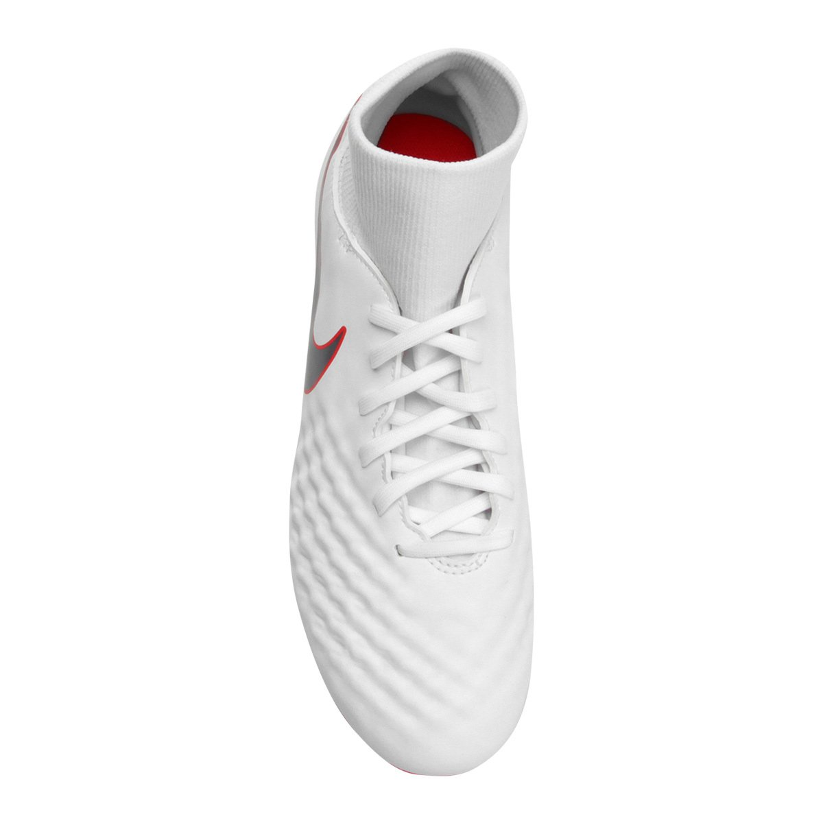 Chuteira Campo Nike Magista Obra 2 Academy DF FG - Branco e Cinza ... 84a8ad6187957