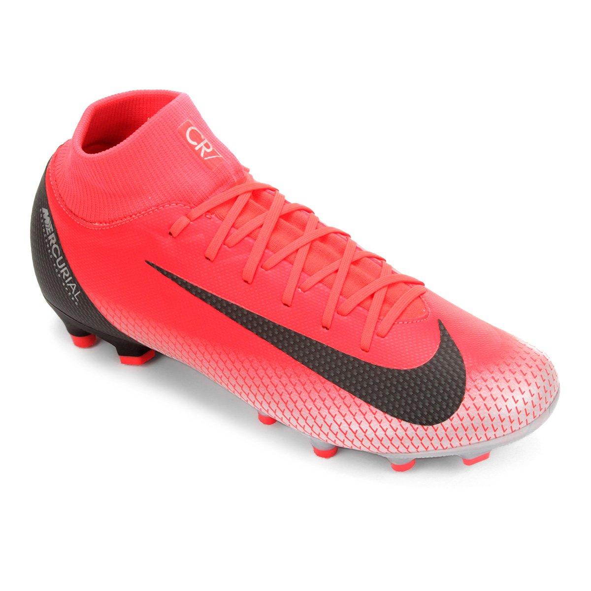f324bd3c2b549 Chuteira Campo Nike Mercurial Superfly 6 Academy CR7 FG - Vermelho e Cinza  - Compre Agora