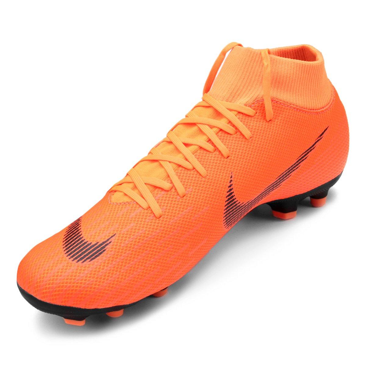 Chuteira Campo Nike Mercurial Superfly 6 Academy - Laranja e Preto ... a0b3dca2ca536