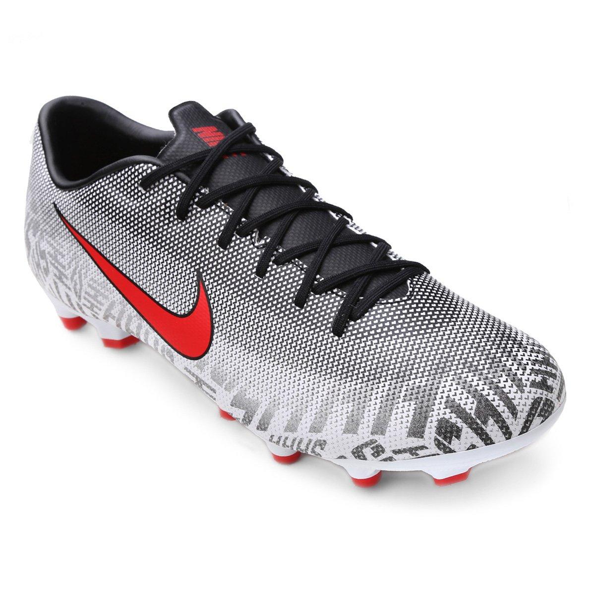 Chuteira Campo Nike Mercurial Vapor 12 Academy Neymar Jr FG - Branco e Vermelho