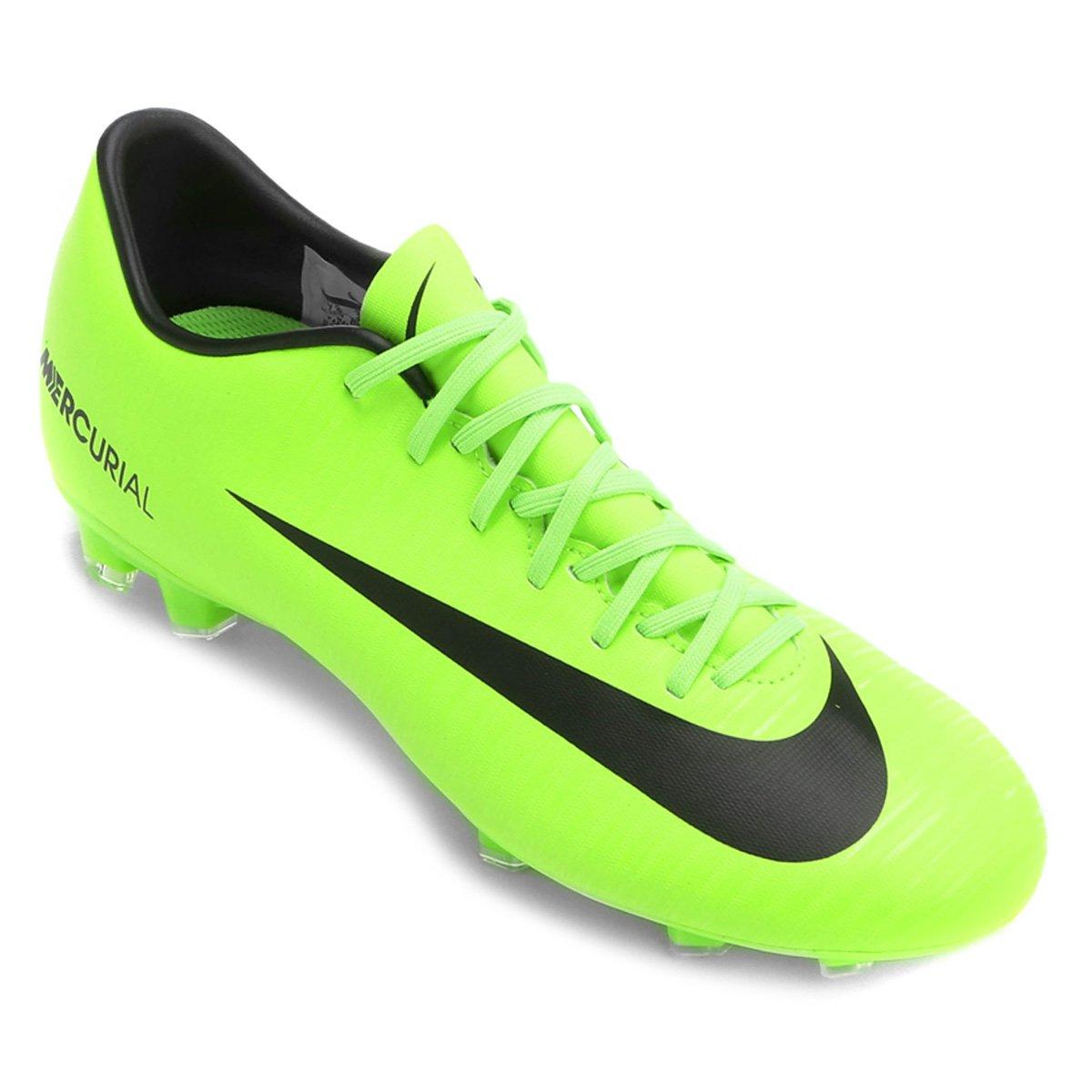 Chuteira Campo Nike Mercurial Victory 6 FG - Verde Limão - Compre ... 4be69f16daa71