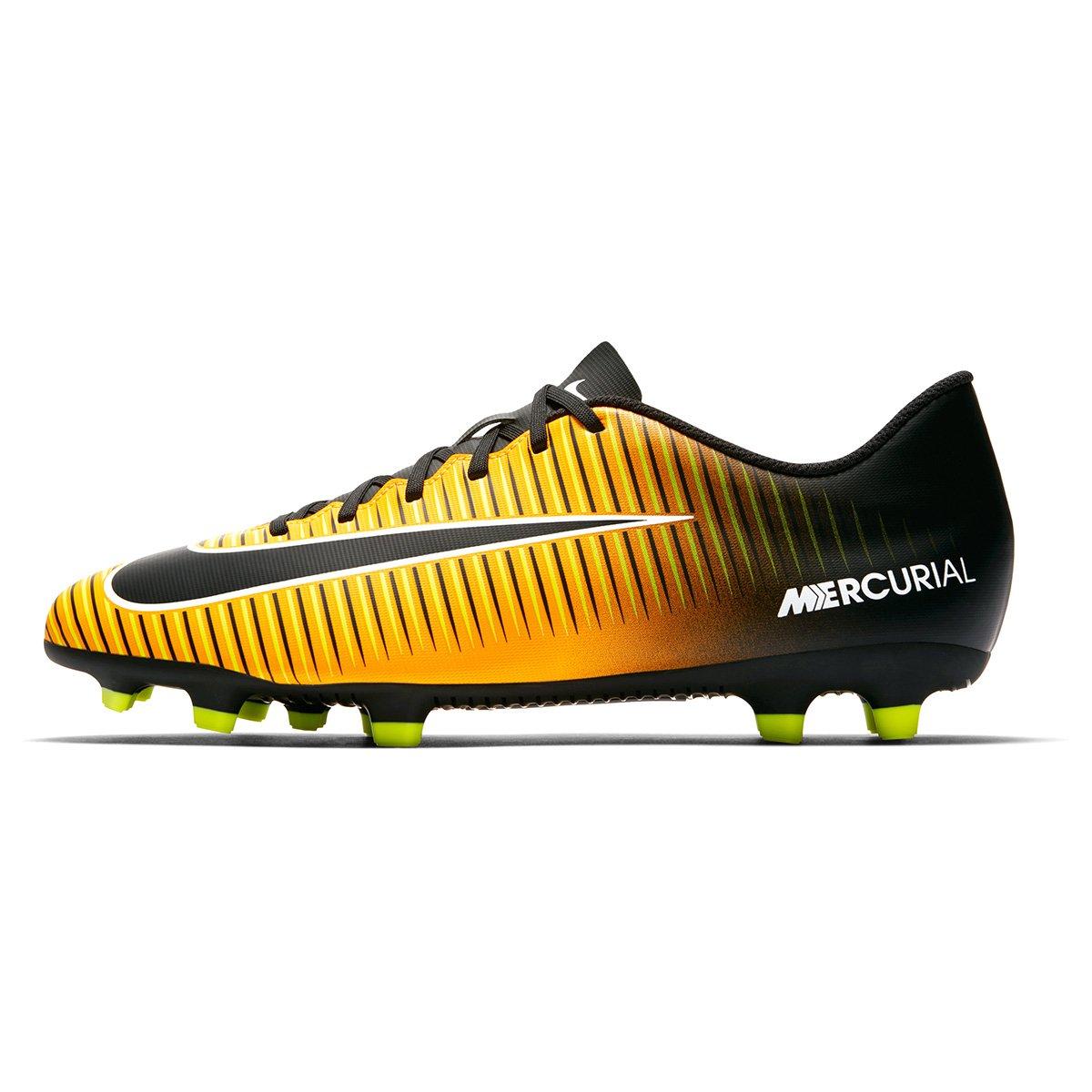 Chuteira Campo Nike Mercurial Vortex 3 FG - Laranja e Preto - Compre ... c6d3e206b1433