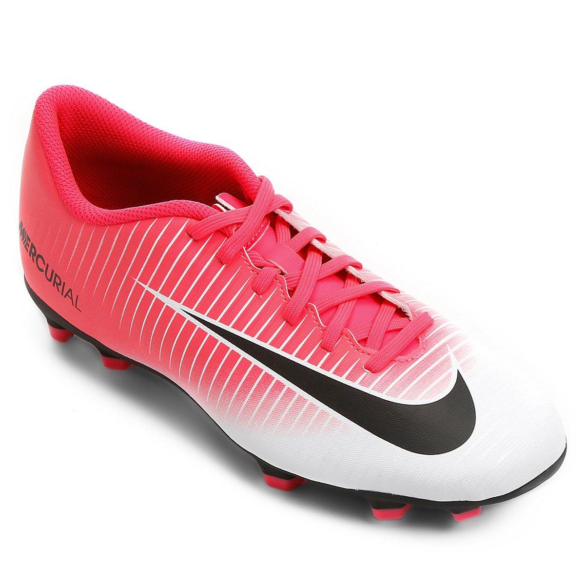 Chuteira Campo Nike Mercurial Vortex 3 FG - Pink e Preto - Compre Agora  3a5106569d48c