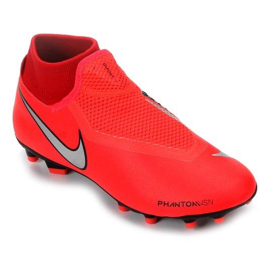 Chuteira Campo Nike Phantom Vision Academy DF FG - Vermelho+Prata