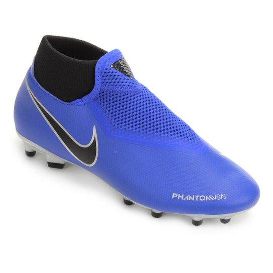 Chuteira Campo Nike Phantom Vision Academy DF FG - Azul+Preto