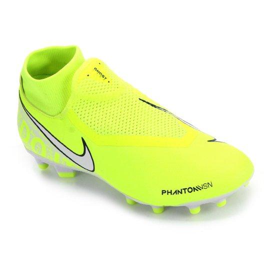 Chuteira Campo Nike Phantom Vision Academy DF FG - Verde Limão+Cinza