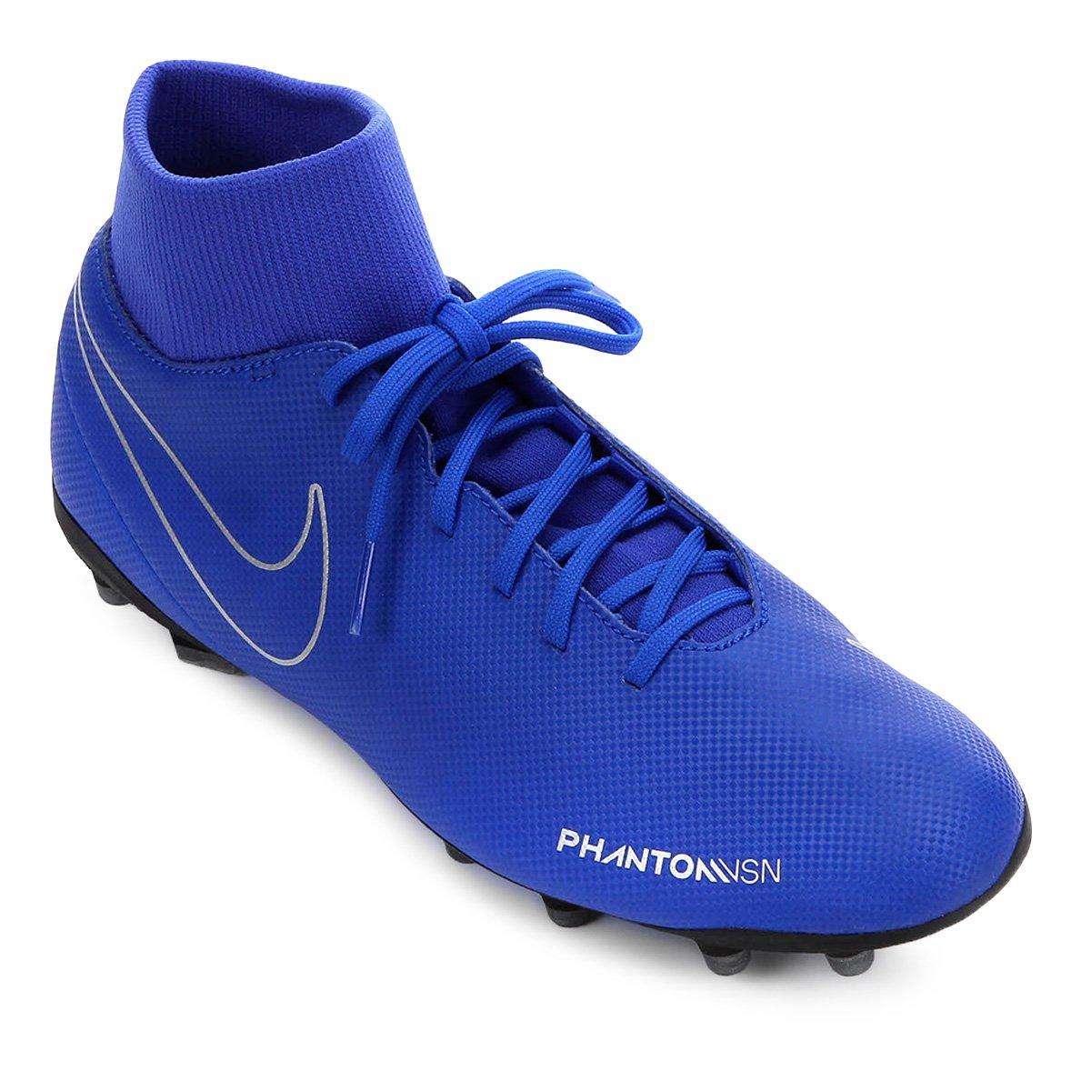 Chuteira Campo Nike Phantom Vision Club FG - Azul e Preto - Compre ... ea16e21e4a27f