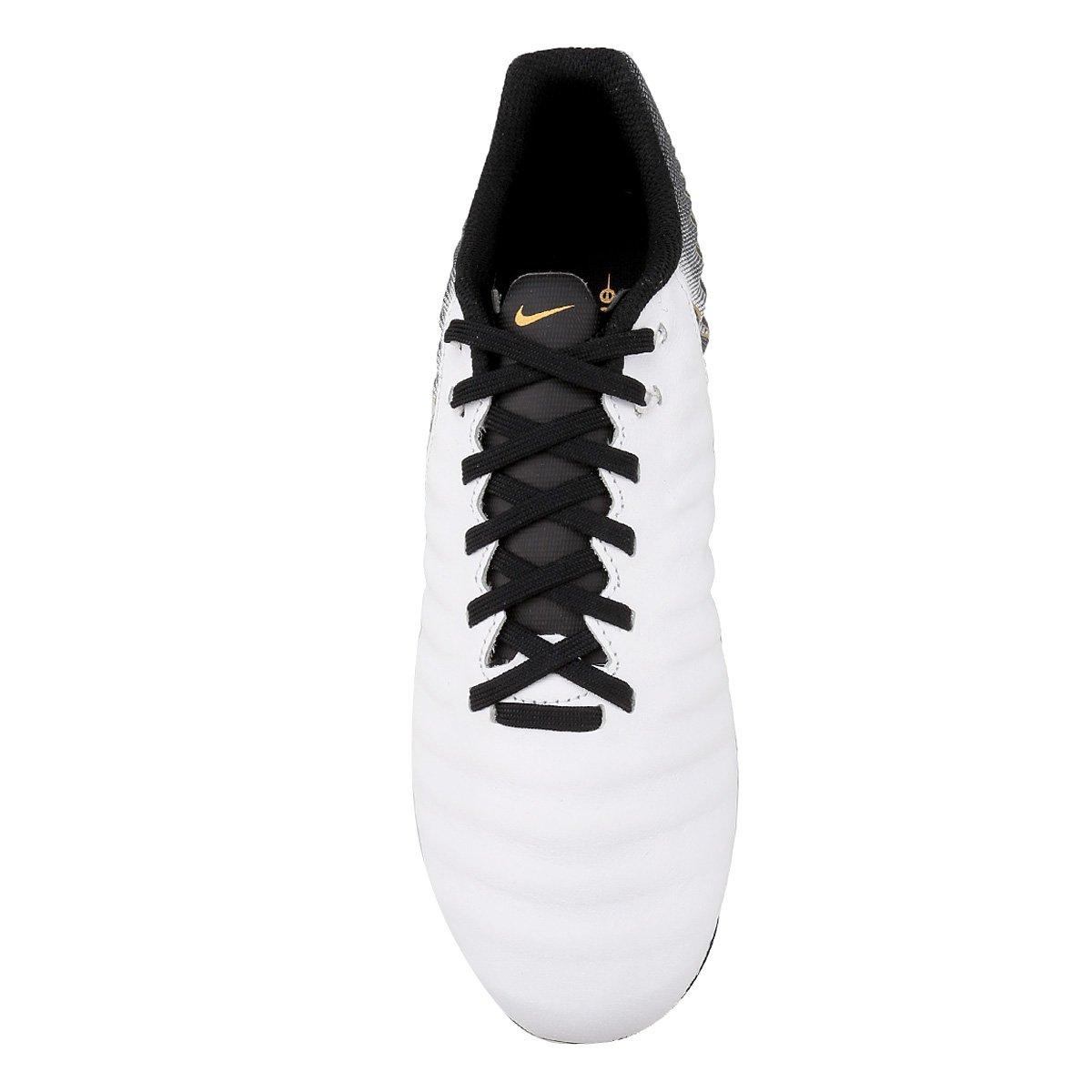 Chuteira Campo Nike Tiempo Legend 7 Academy FG - Branco e Preto ... 6decaa1a17567