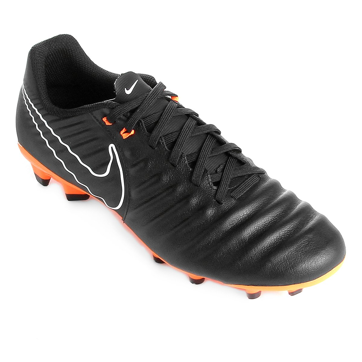 Chuteira Campo Nike Tiempo Legend 7 Academy FG - Preto e Laranja ... 817202667c8b5