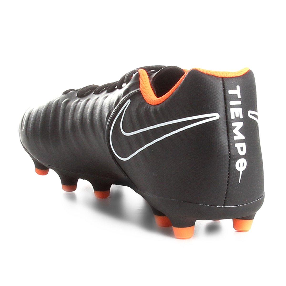 Chuteira Campo Nike Tiempo Legend 7 Club FG - Preto e Laranja ... 8616ba7b1da7f