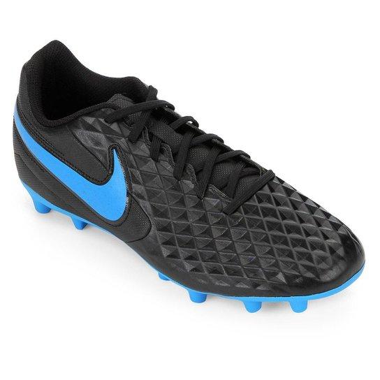 Chuteira Campo Nike Tiempo Legend 8 Club - Preto+Azul