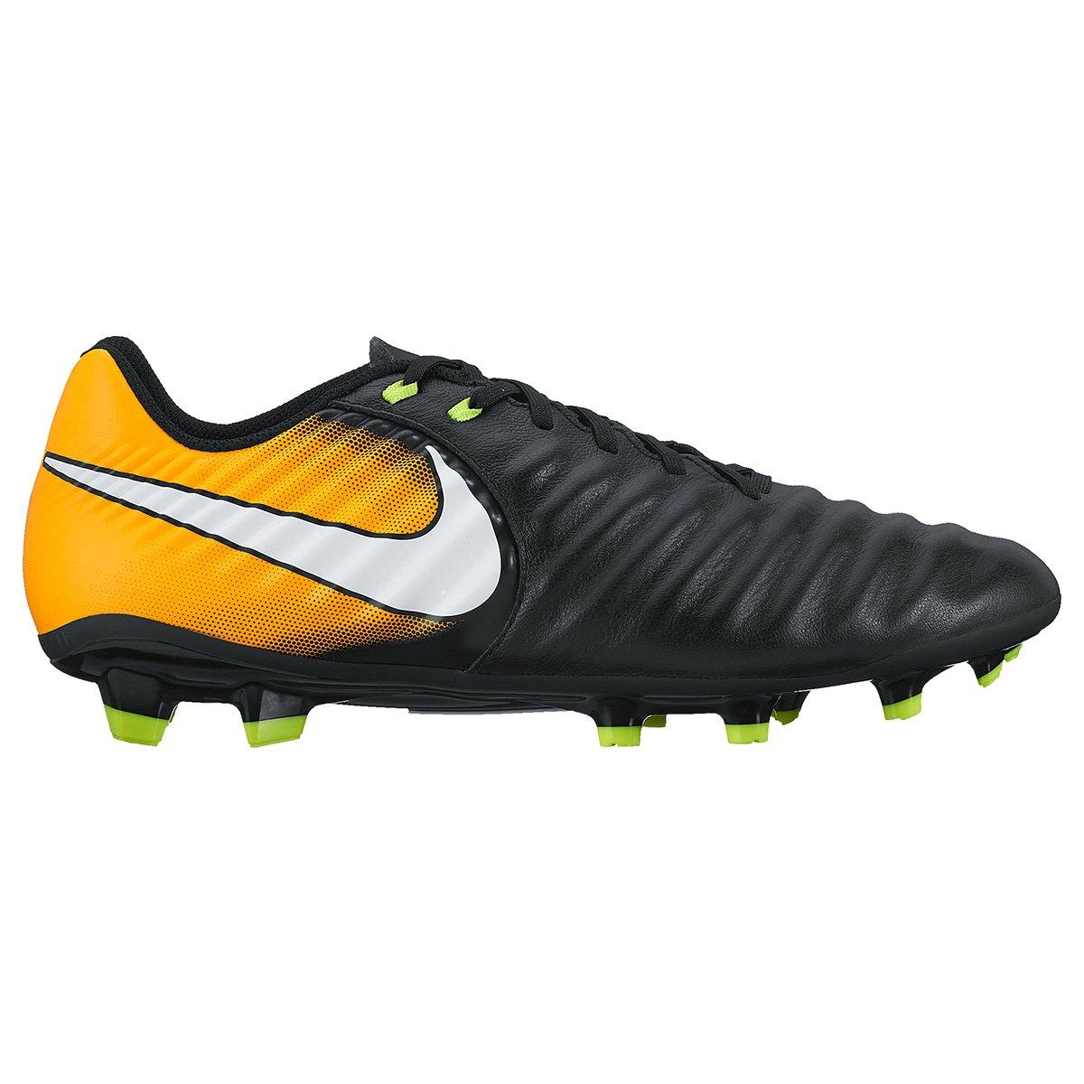 3b9e46956b8b3 Chuteira Campo Nike Tiempo Ligera 4 FG - Preto e Laranja - Compre Agora