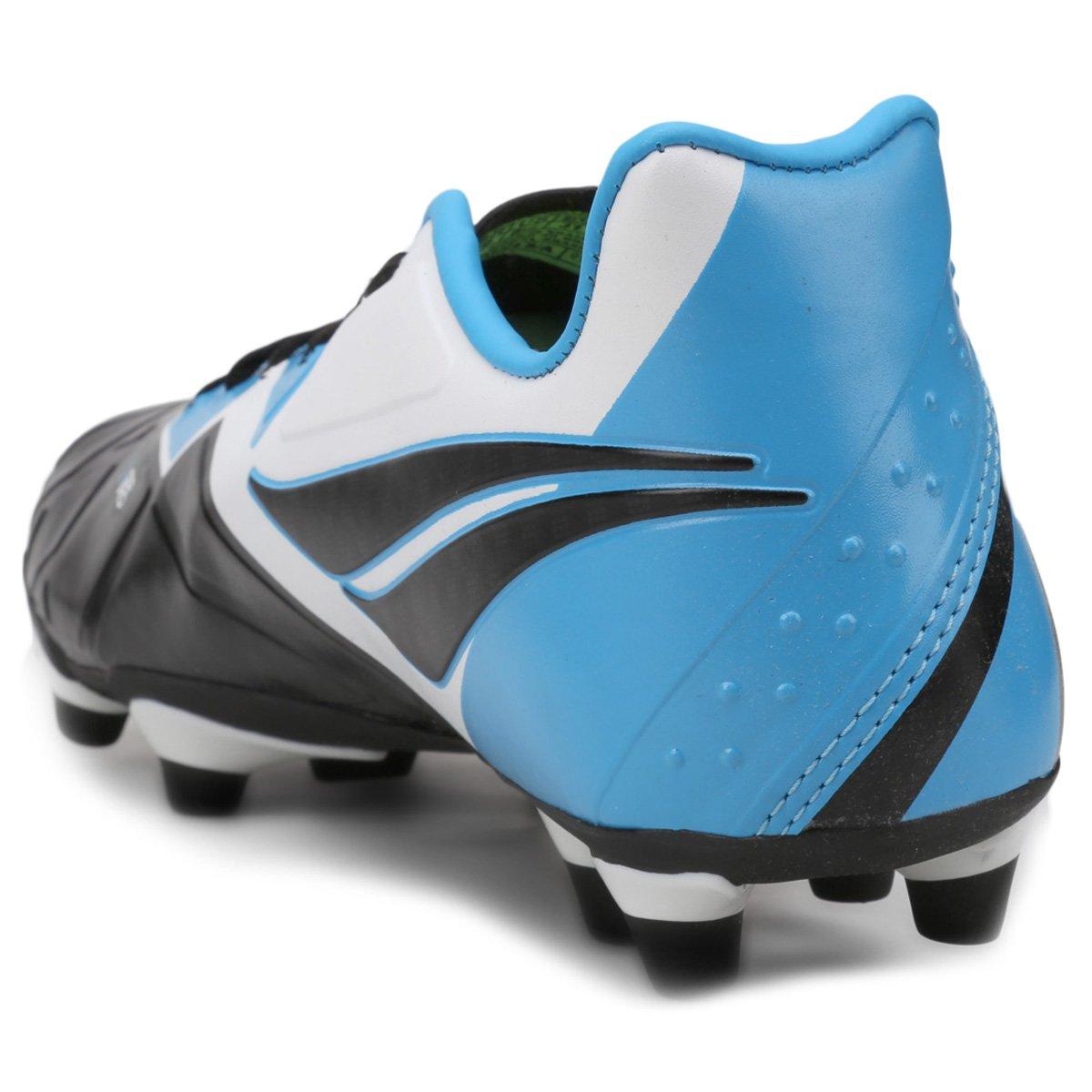 3a740501ee Chuteira Campo Penalty Victoria Pro 7 Masculina - Preto e Azul claro ...