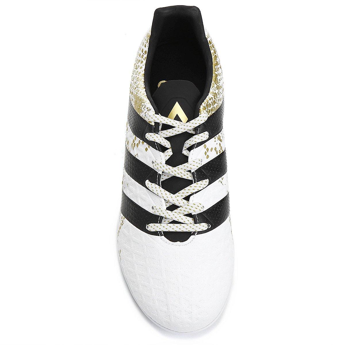 dfa130e165 Chuteira Futsal Adidas Ace 16.3 IN Masculina - Branco e Preto ...