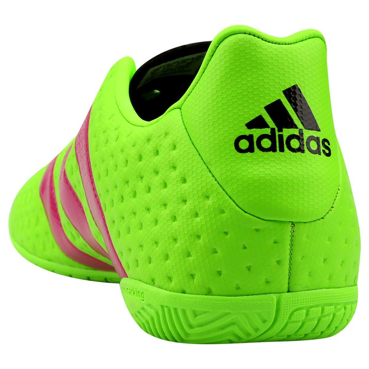 Chuteira Futsal Adidas Ace 16.4 IN - Verde Limão e Pink - Compre ... 17718971b17b3