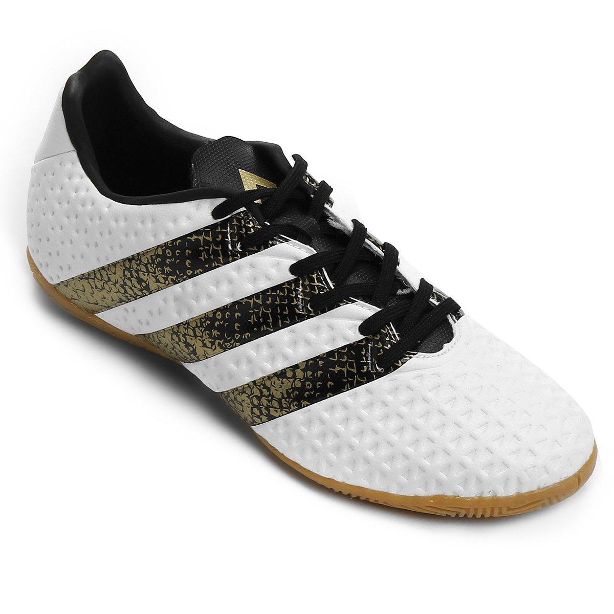 eee90e2c12528 Chuteira Futsal Adidas Ace 16.4 IN - Branco e Preto - Compre Agora ...