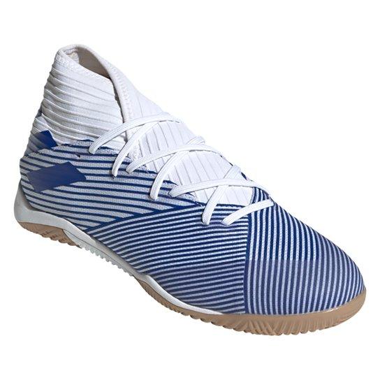 Chuteira Futsal Adidas Nemeziz 19 3 IN - Branco+Azul