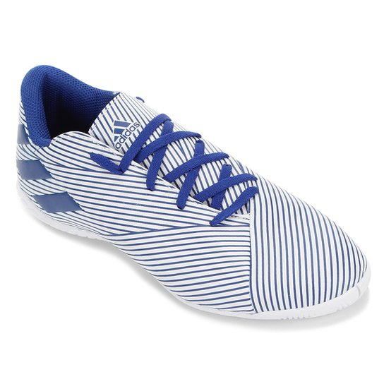 Chuteira Futsal Adidas Nemeziz 19 4 IN - Branco+Azul