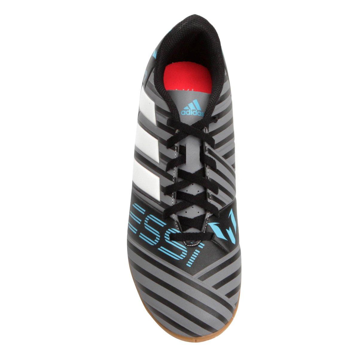 Chuteira Futsal Adidas Nemeziz Messi 17.4 IN - Cinza e Preto ... 71372984b5b6a