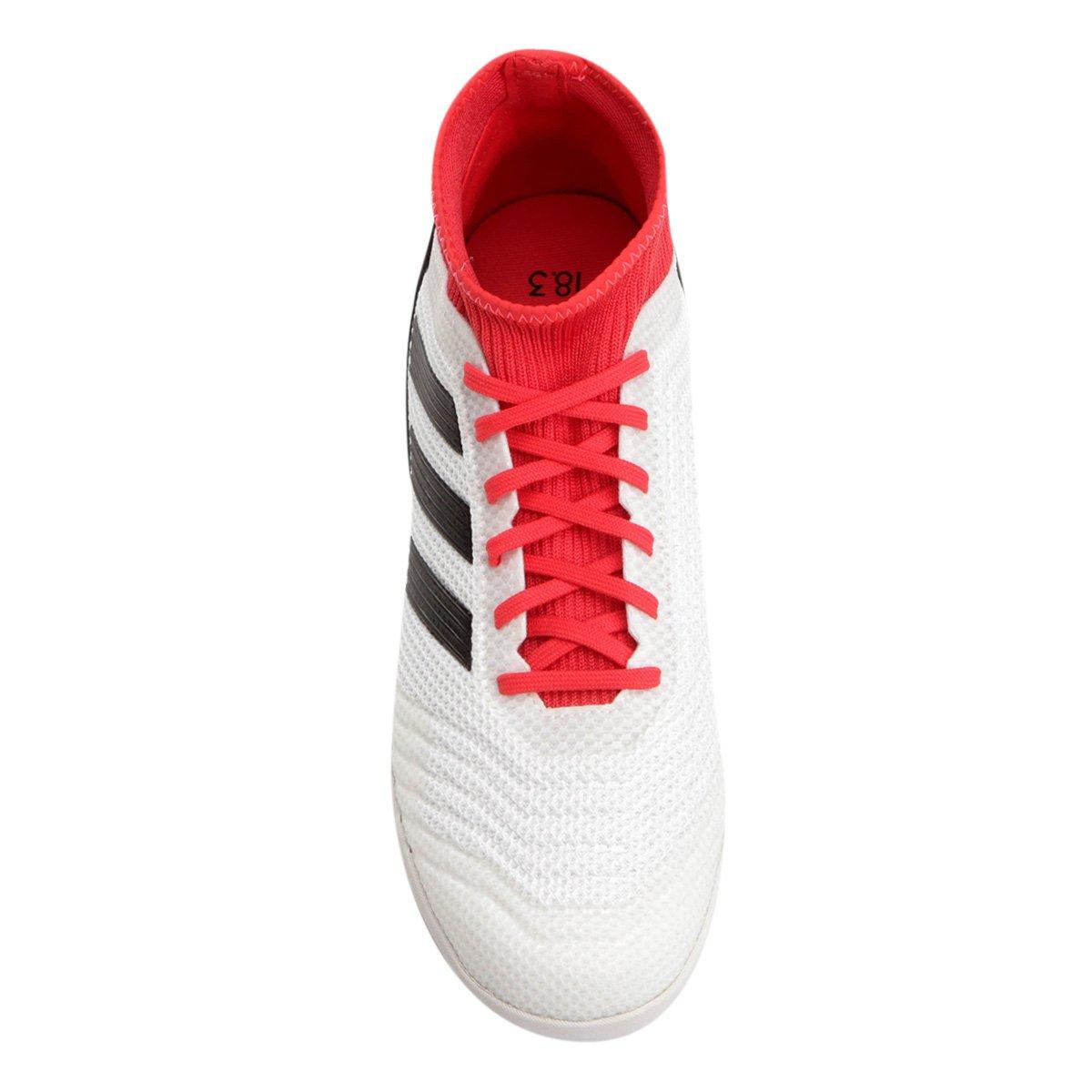 1f73f3d707 Chuteira Futsal Adidas Predator 18 3 IN - Branco e Vermelho - Compre ...