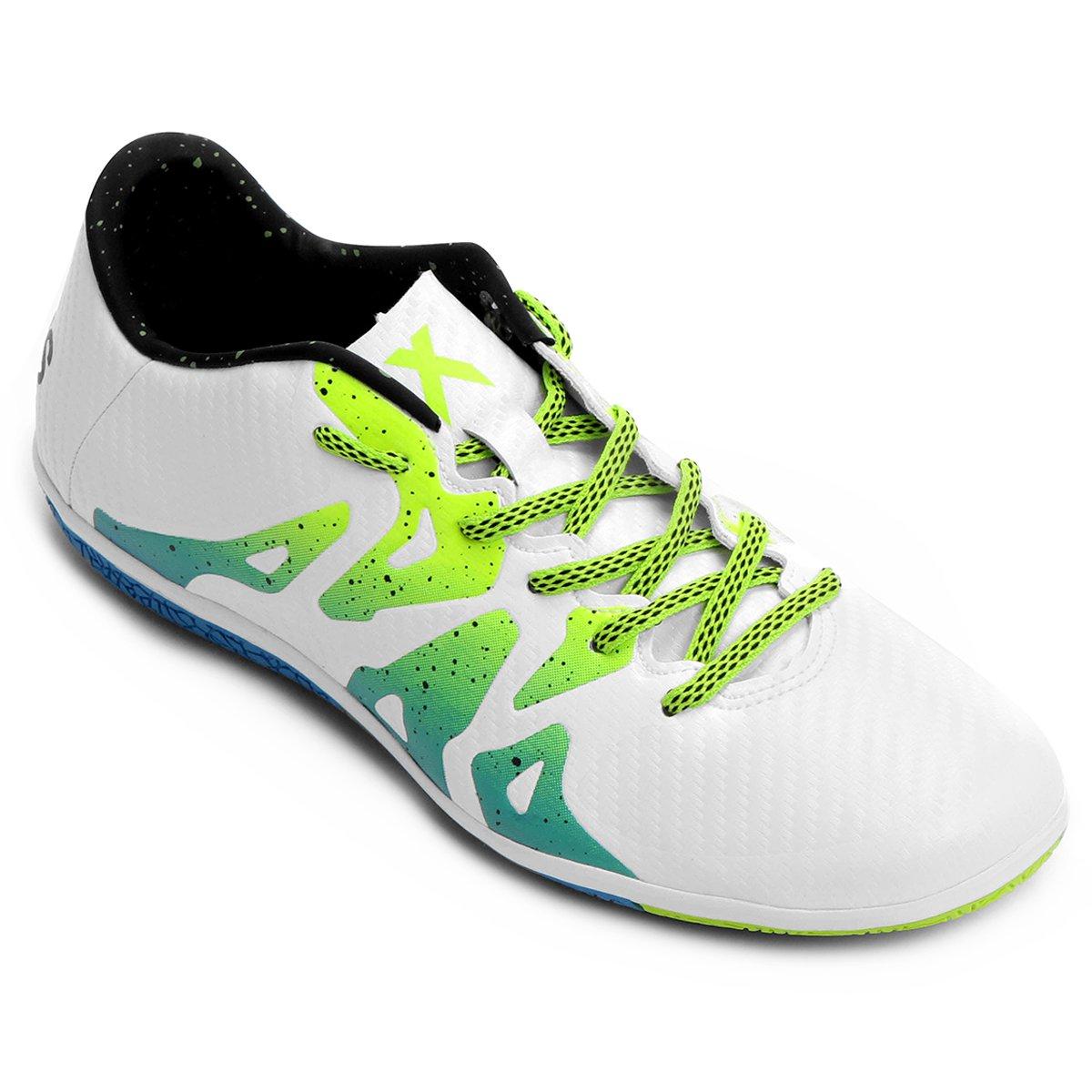 71dbeff385bfb Chuteira Futsal Adidas X 15 3 IN Masculina - Branco e Verde Limão - Compre  Agora