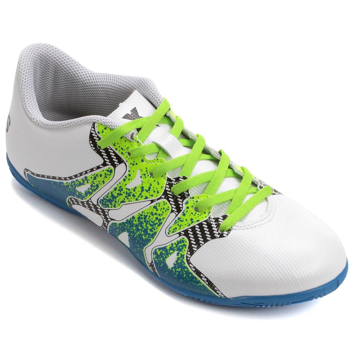 ... chuteira futsal adidas x 15 4 in masculina branco+verde limão f8751590c4aa9