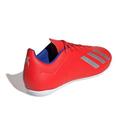 Chuteira Futsal Adidas X 18 4 IN - Vermelho+Prata