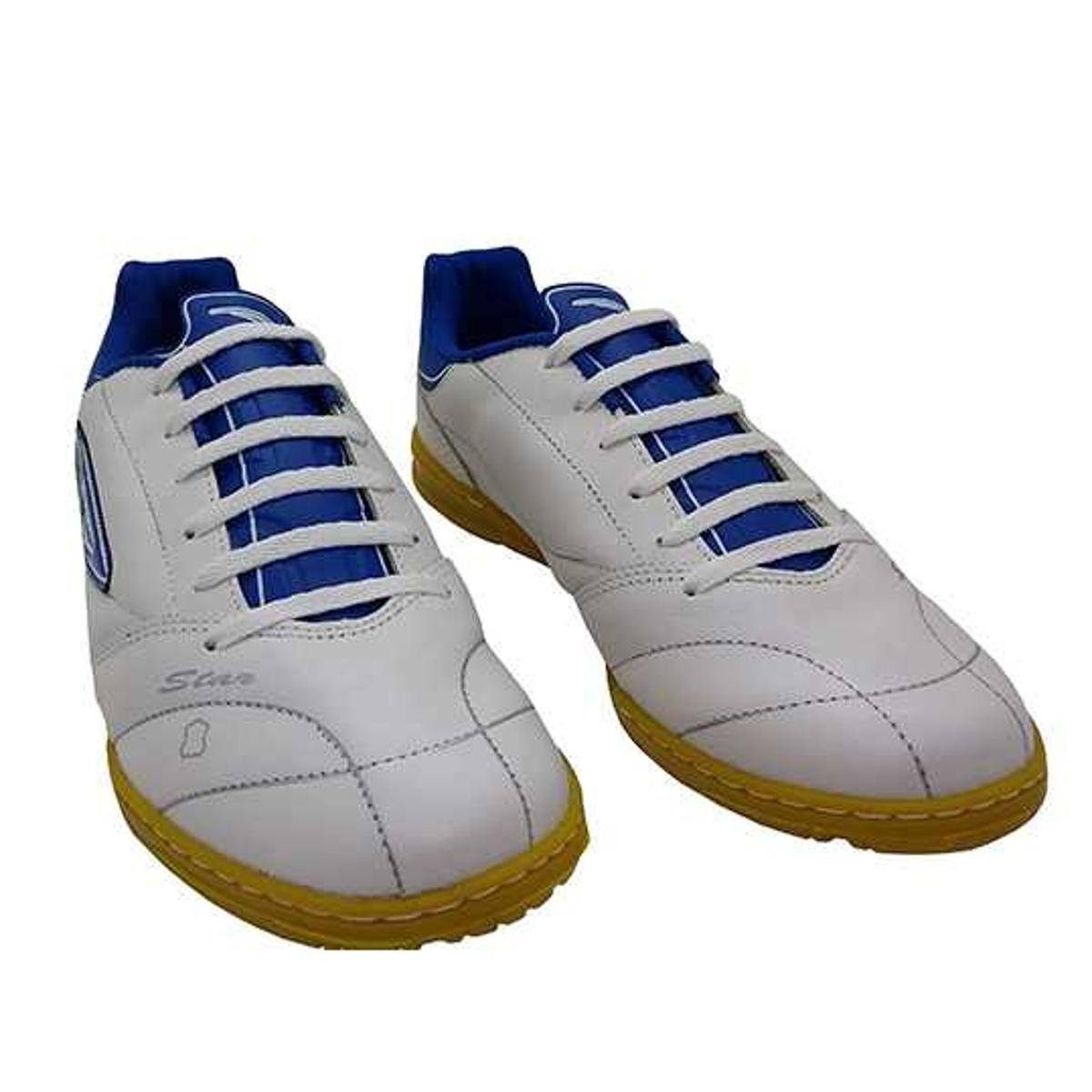 Chuteira Futsal Diavolo Star Couro Masculina - Branco e Azul ... 6bc742b0414f9