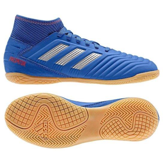 Chuteira Futsal Infantil Adidas Predator 19 3 IN - Azul+Prata
