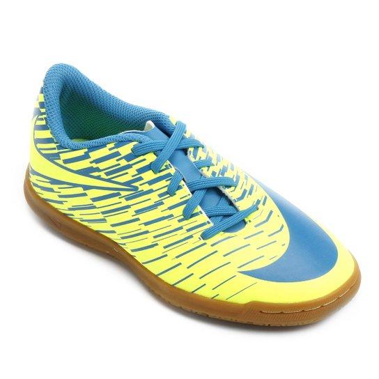 Chuteira Futsal Infantil Nike Bravata 2 IC - Amarelo Fluorescente+Azul