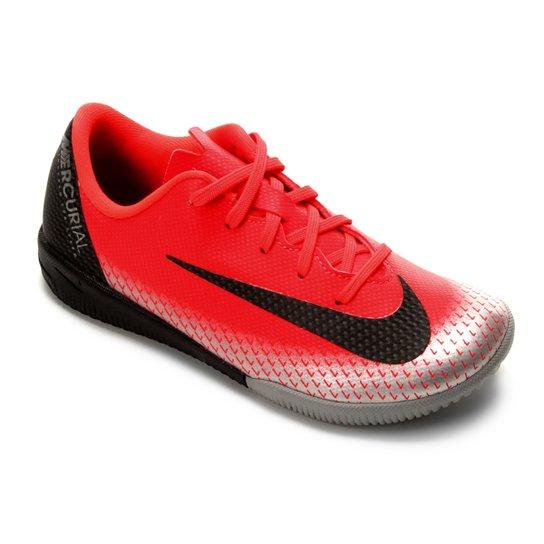 Chuteira Futsal Infantil Nike Mercurial Vapor 12 Academy OS CR7 IC - Vermelho