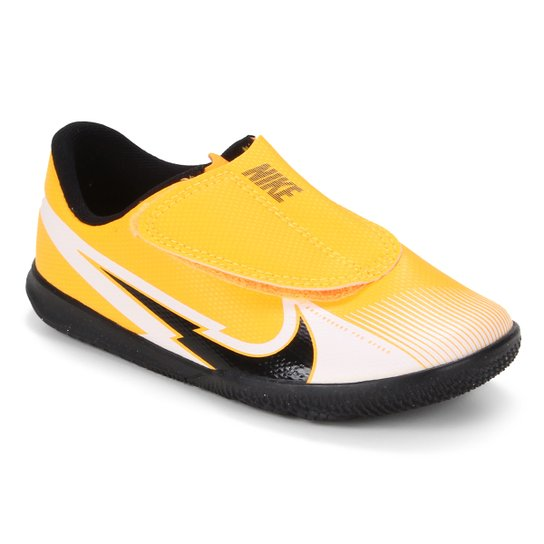 Chuteira Futsal Infantil Nike Mercurial Vapor 13 Club PS IC - Laranja+Preto