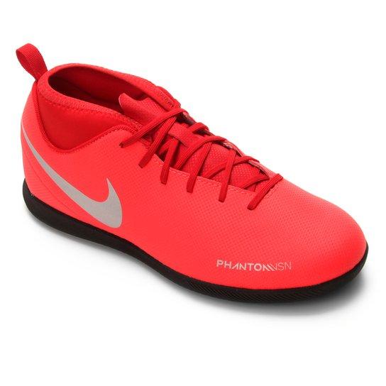 Chuteira Futsal Infantil Nike Phantom Vision Club DF IC - Vermelho+Prata