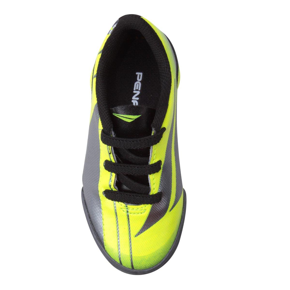 Chuteira Futsal Infantil Penalty ATF K Attom VIII - Cinza e Amarelo ... 3e1dcec7af73e
